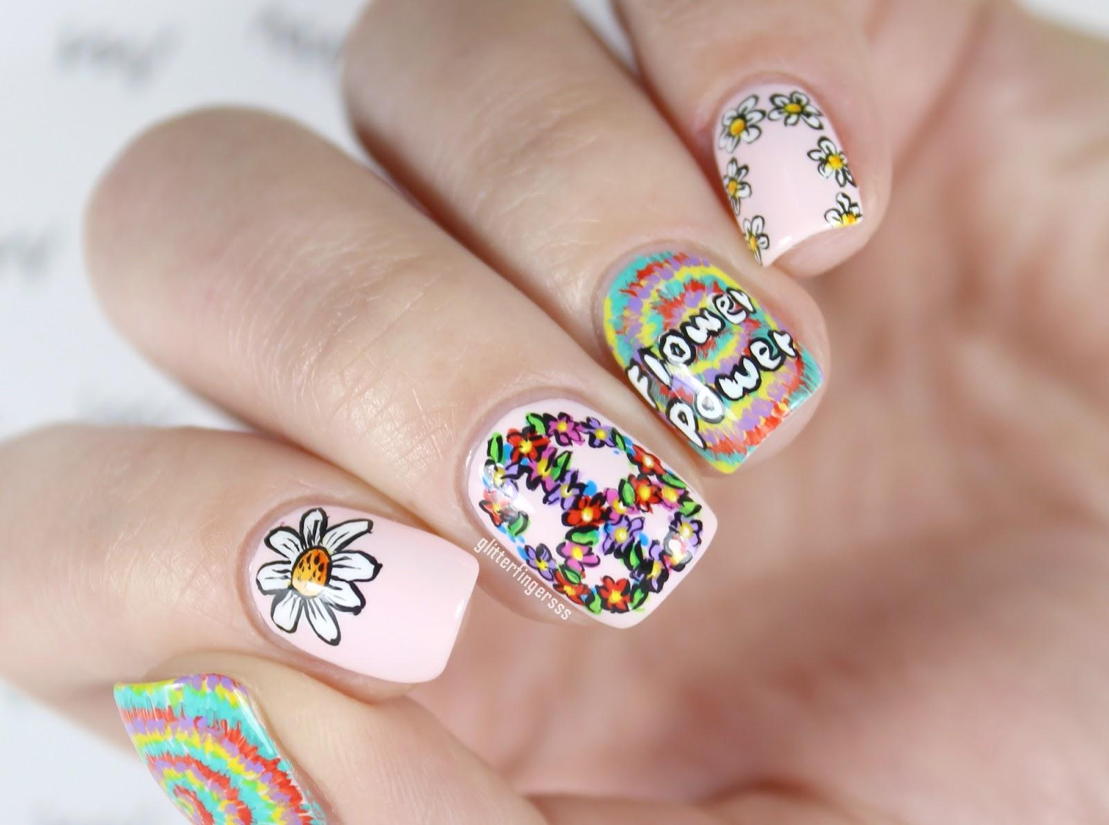 NAIL ART | Hippie ~ Glitterfingersss in english