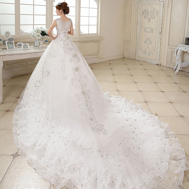 luxurious V-Neck Straps Beading Chapel Train Wedding Dress
