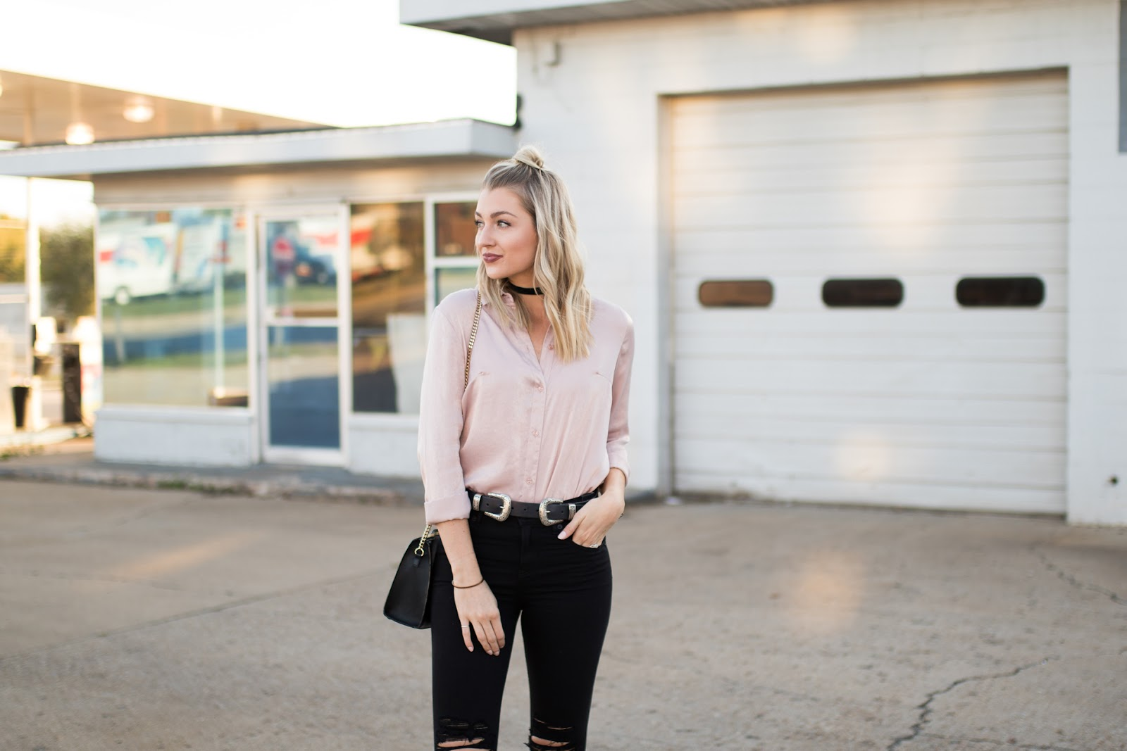 Pink and black fall/winter outfit