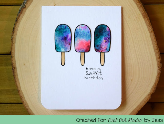 Color Burst Ice Pops Birthday Card by Jess Gerstner Mint Owl Studio