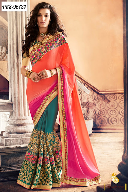 Orange Color Beautiful Wedding Reception Sarees for Bride Online Shopping with Price in India