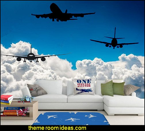 aviation bedroom wallpaper mural clouds airplane wall decals planes theme decorating
