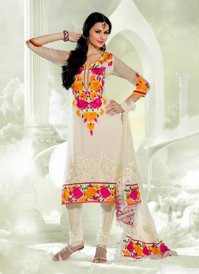 24d8c6a33c1c6d Sober Off-White Georgette Floral Embroidery Neckline And Shirt Border