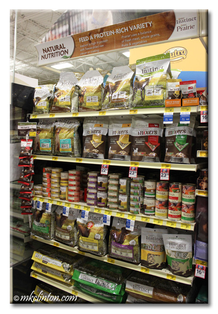 Instinct Raw Boost Mixers display in PetSmart