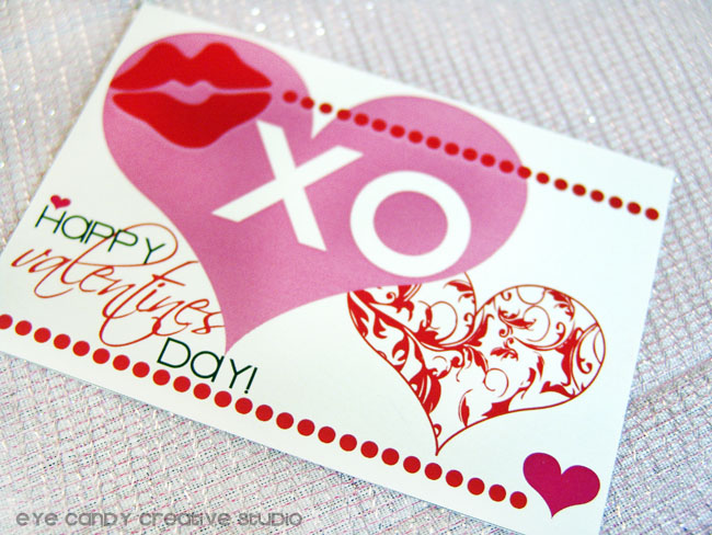 happy valentines day, XO, valentines postcard, damask heart