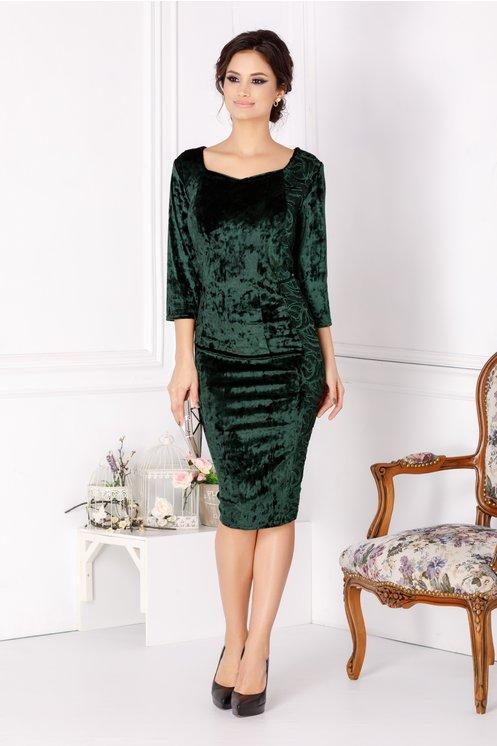 Rochie eleganta verde de ocazii cu dantela si paiete marime mare