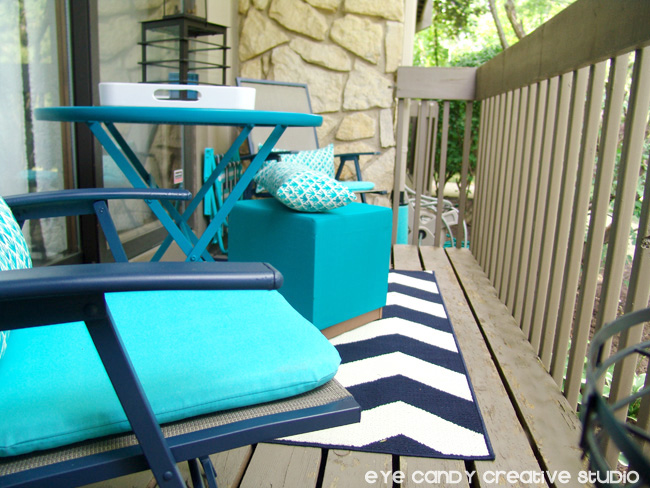 patio chair cushions from Target, Target outdoor pillows, navy & aqua