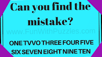 Can you find the mistake? ONE TVVO THREE FOUR FIVE SIX SEVEN EIGHT NINE TEN