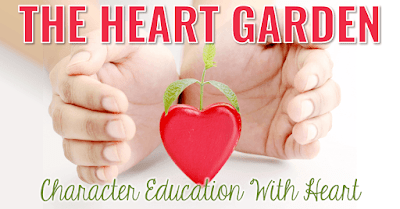 "Hands cupping heart with plant sprouting and text, ""The Heart Garden. Character Education With Heart."""