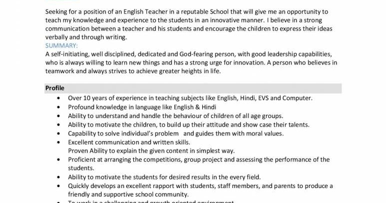 best sample resume for hindi and english teacher
