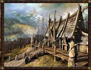 Casas altas, de estilo nórdico, con el fondo de montañas nevadas. Un fragmento de mi querida campaña de fantasía.
