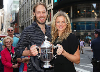 Kim Clijsters And Brian Lynch Holding Trophy