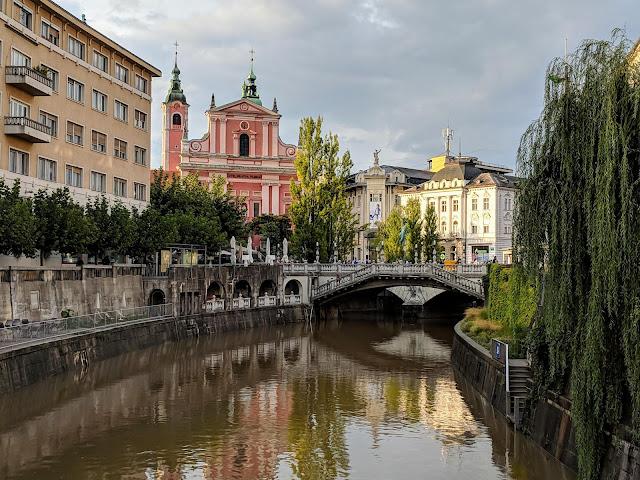 Ljubljana Slovenia: River and Ljubljana Cathedral