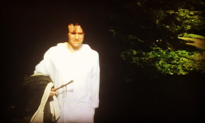 Colin First as Mr Darcy walking out of the woods after jumping in the lake