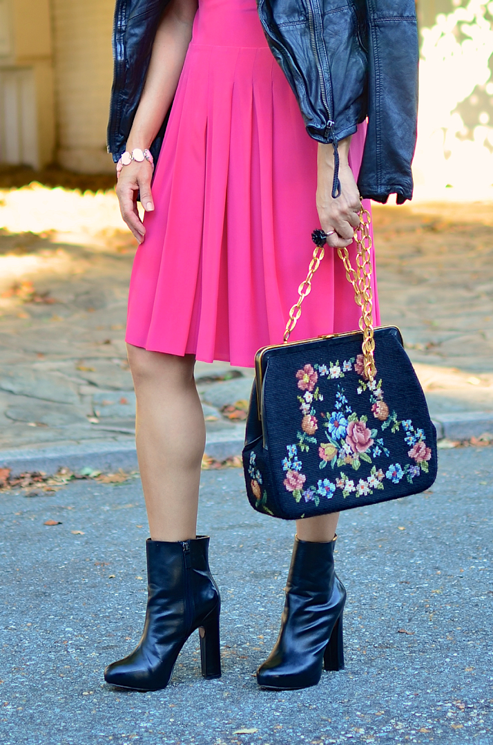 Black boots with pink dress