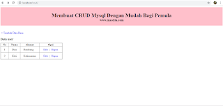 Membuat CRUD PHP dan Mysql Dengan Mudah Bagi Pemula – Input Data