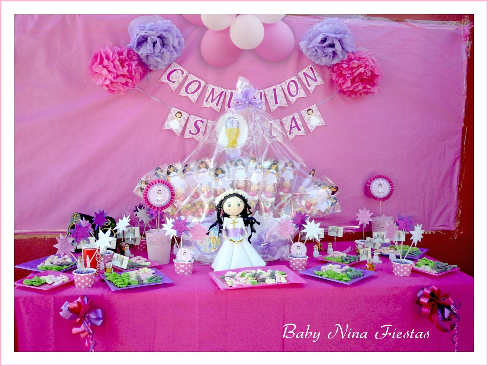 Baby nina fiestas guirnalda y centros de mesa para la for Mesas dulces comunion nina