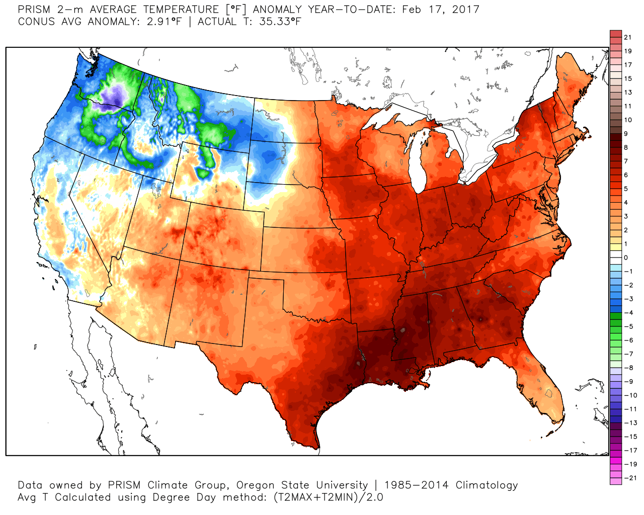 U S Year To Date Daily Average High Temperature Anomaly