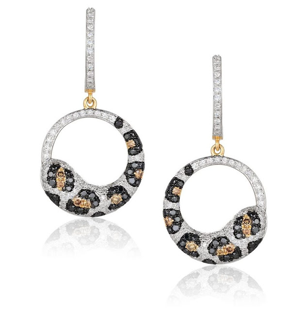 White, Black and Cognac Diamond Earrings