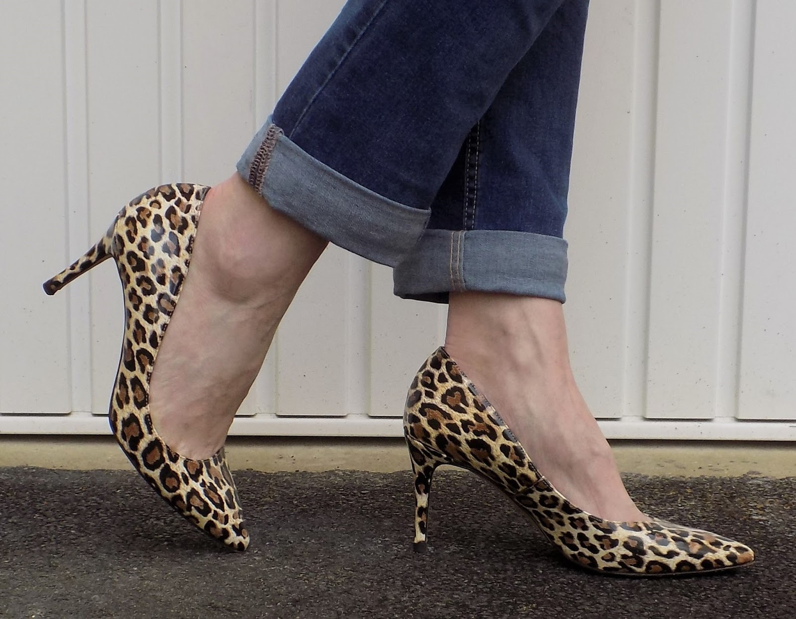 Boyfriend jeans and leopard print heels