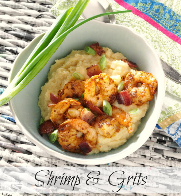 Award-winning Southern Shrimp & Grits recipe with blackened shrimp, bacon and cheese.