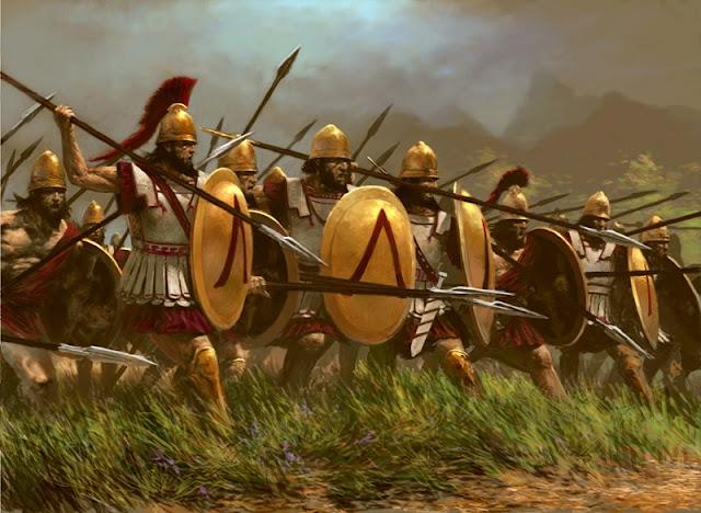 www.fertilmente.com.br - Imagem de uma falange espartana com vestes cor carmim