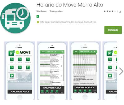 Aplicativo Horários Morro Alto no Google Play