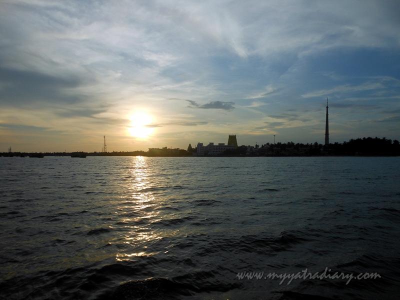 Sun sets in the sea during boat ride in Rameswaram, Tamil Nadu