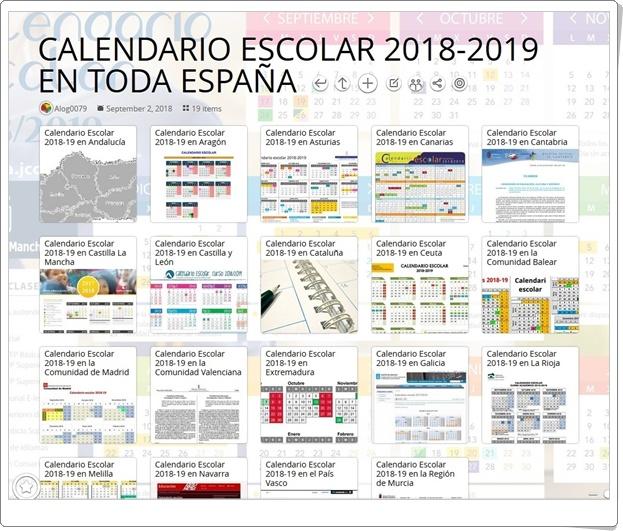 """""""Calendario Escolar 2018-2019 en toda España"""""""