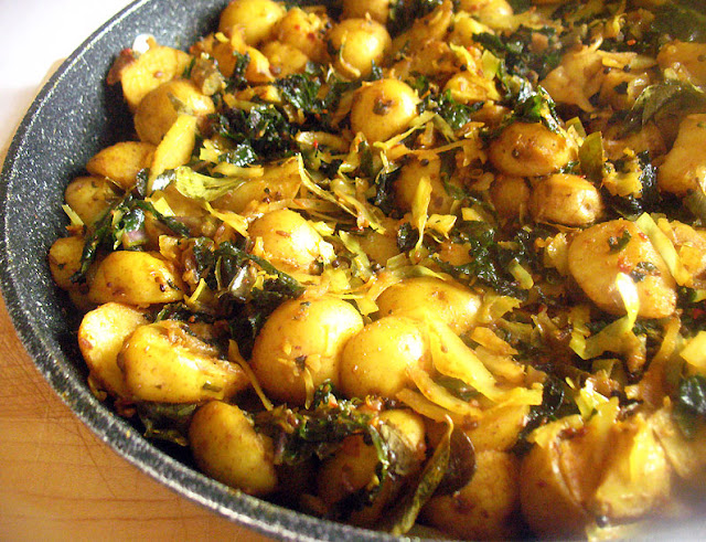 Potato, Red Kale and Cabbage Subji