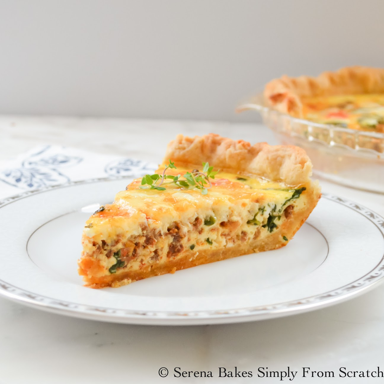 Fontina Chorizo Spinach Quiche is so good and easy to make!