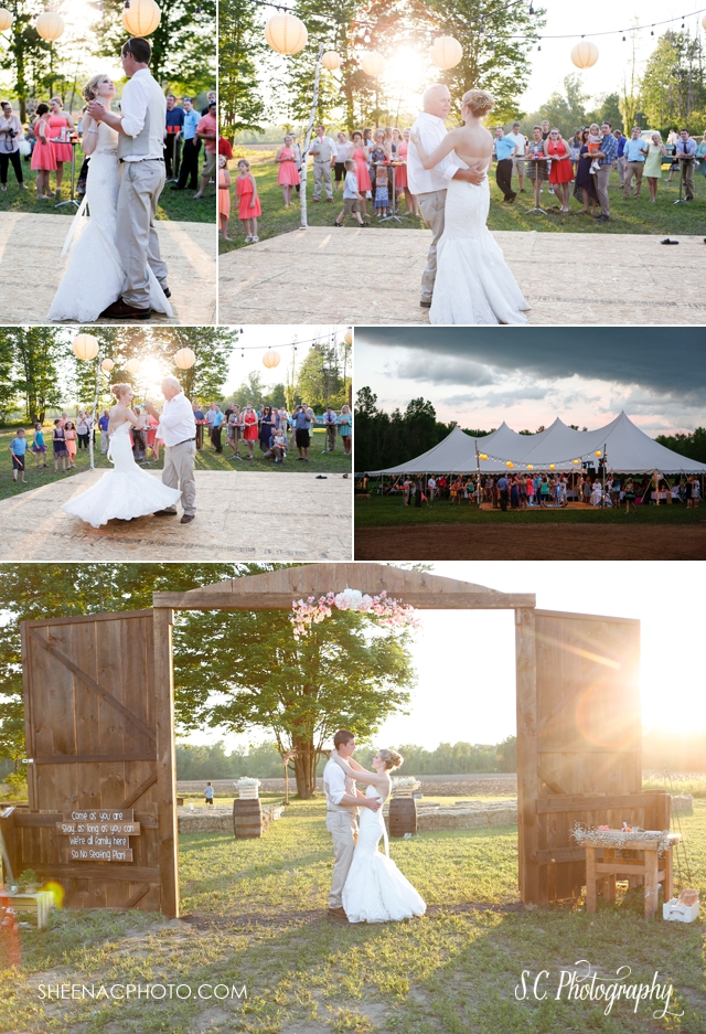 backyard wedding, sunset dancing, father daughter first dance photographer