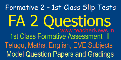 1st Class Formative 2/ FA 2 CCE Model Question Papers/ Slip Tests, Grading Table 2019