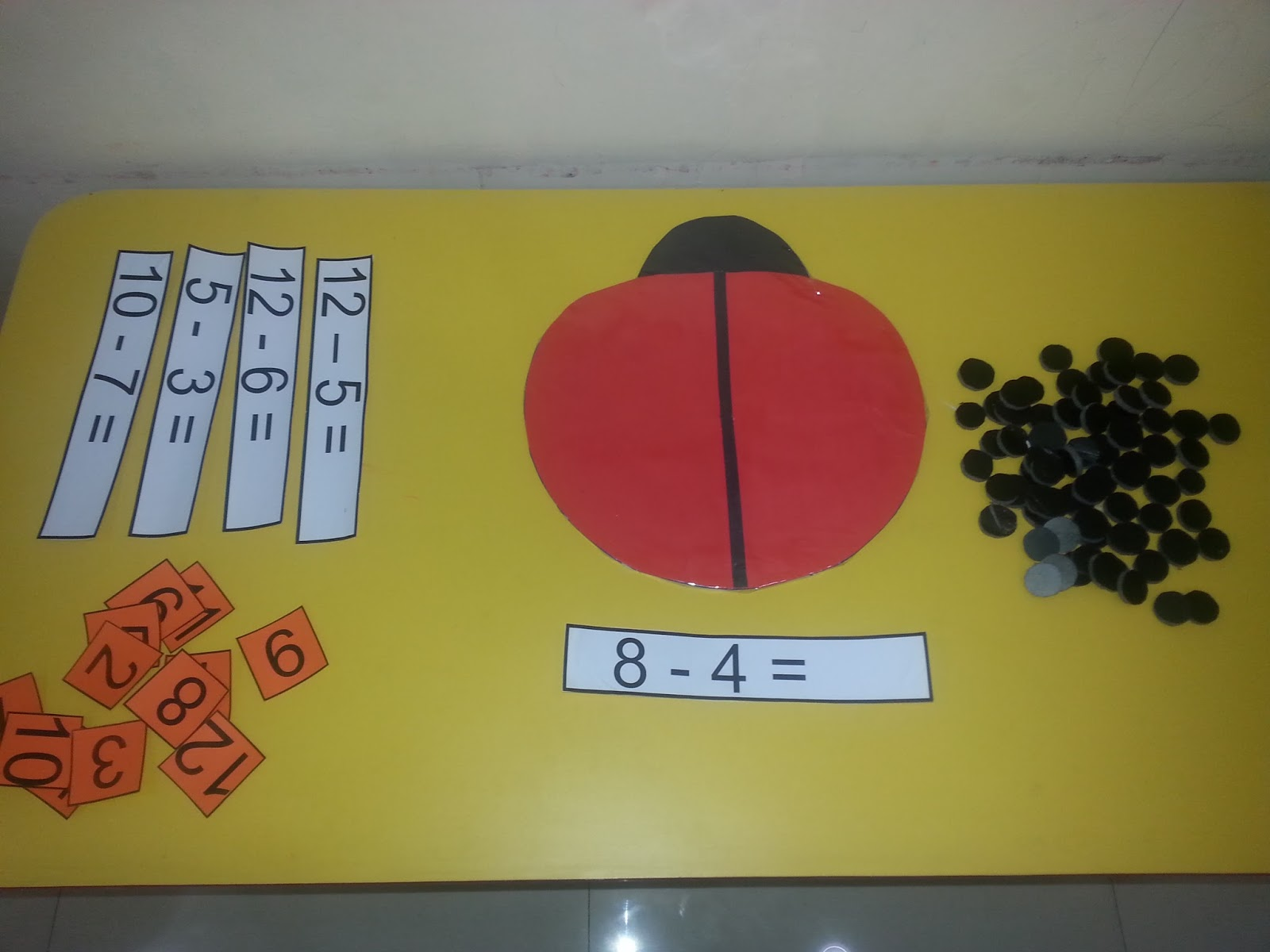 Provide Some Subtraction Equations And Small Number Cards With Answers To Children Lady Bird Circles