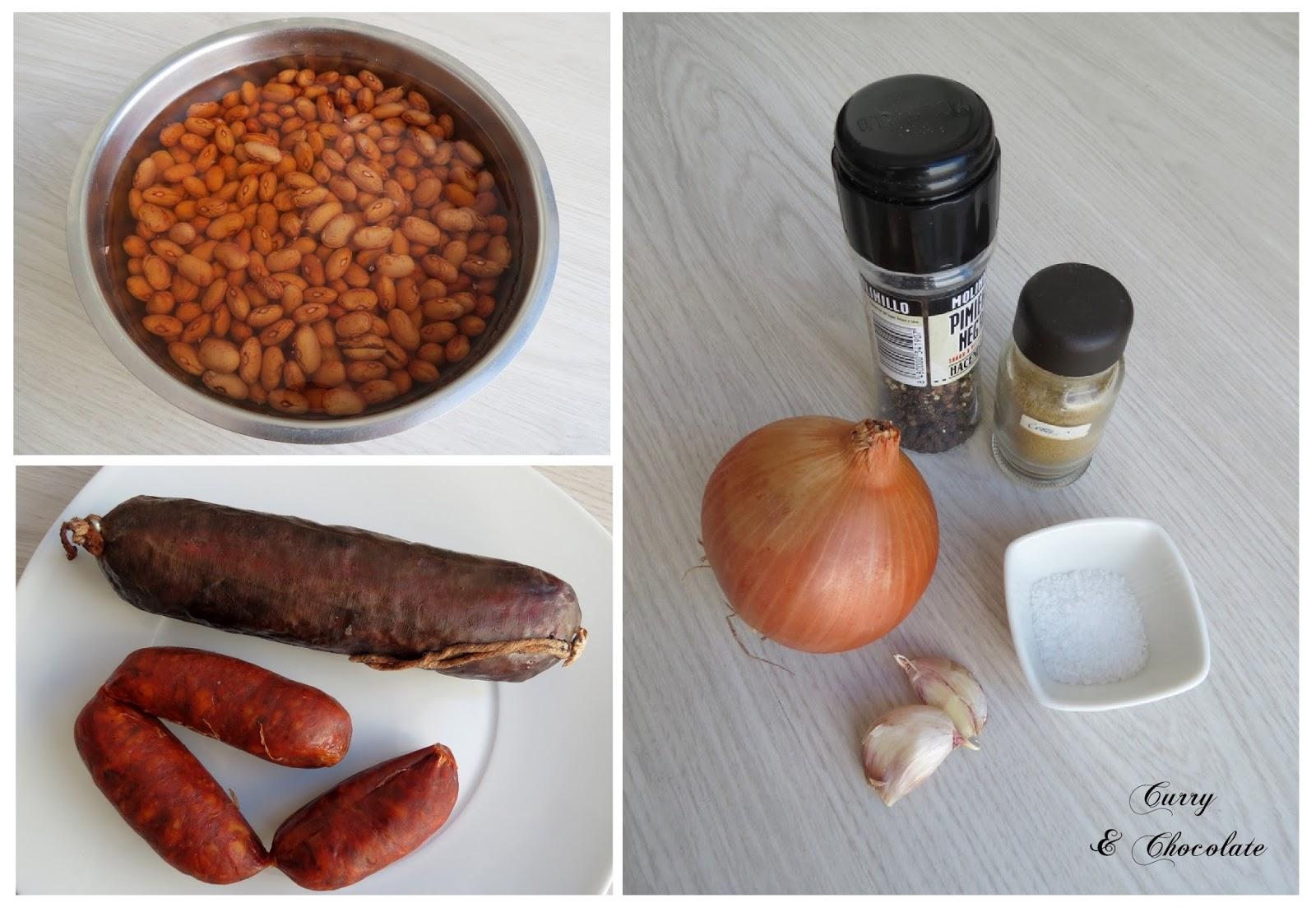 Potaje de alubias pintas con chorizo y morcilla - Ingredientes