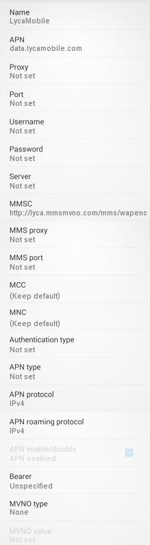Lycamobile USA APN Settings for Android