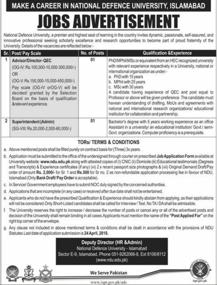 National Defence University Islamabad Jobs 2018