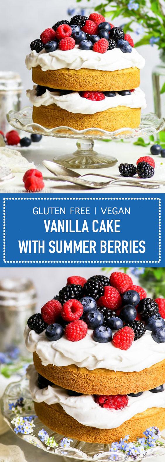 Gluten Free + Vegan Vanilla Cake with Summer Berries