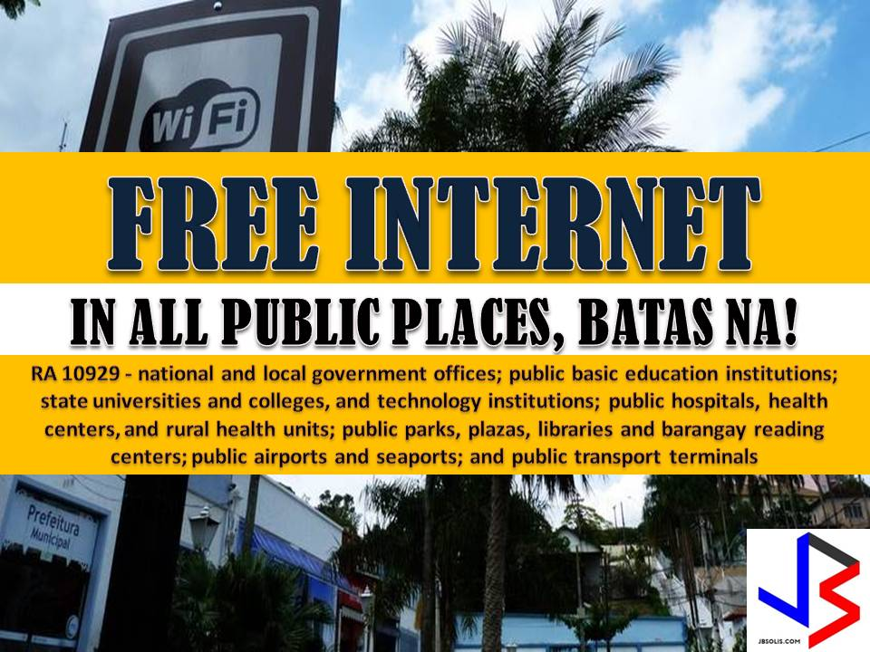 "Providing accessible and fast internet to Filipino people was one of the promises given by President Rodrigo Duterte in his first State of the Nation Address in 2016.  A year later, he signed Republic Act 10929 or Free Internet Access Program where Filipinos can expect to have a free access to the internet in any public establishment in the Philippines.  The new law ""aims to promote knowledge building among citizens and enable them to participate and compete in evolving information and communication age."""