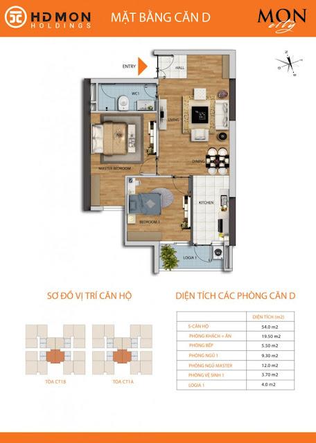 Căn hộ D chung cư Mon city Mỹ Đình- 54 m2 thông thủy
