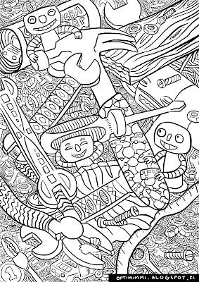 A coloring page of happy robots and tools / Värityskuva iloisista roboteista ja työvälineistä