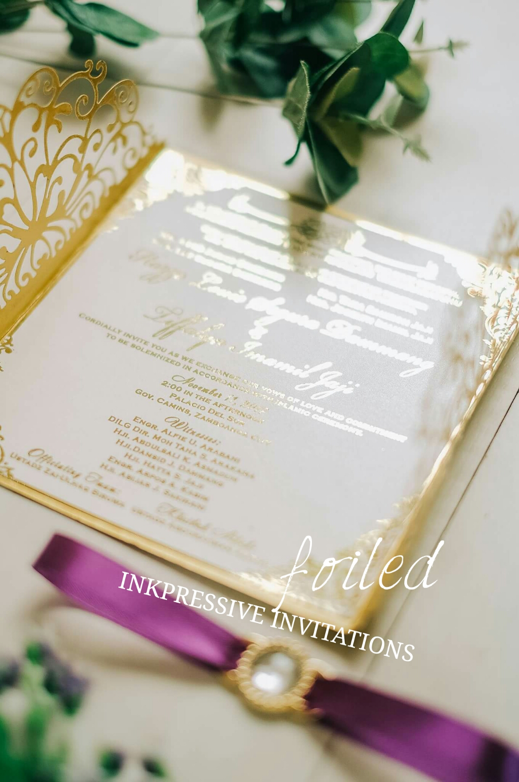 Foiledweddinginkpressiveg gold foiling on white special shimmery paper stopboris Gallery