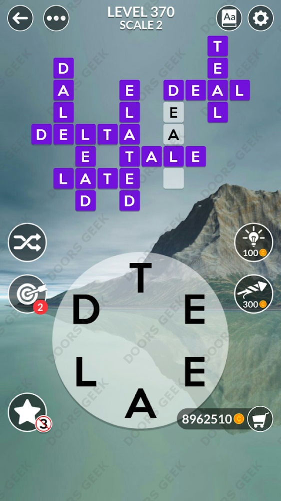 Wordscapes Level 370 answers, cheats, solution for android and ios devices.