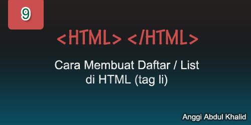 Cara Membuat Daftar/List di HTML