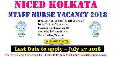 NICED Kolkata Staff Nurse Vacancy 2018