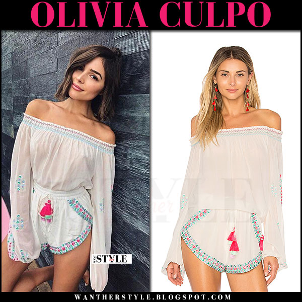Olivia Culpo in white off shoulder top and matching shorts rococo sand what she wore may 15 2017