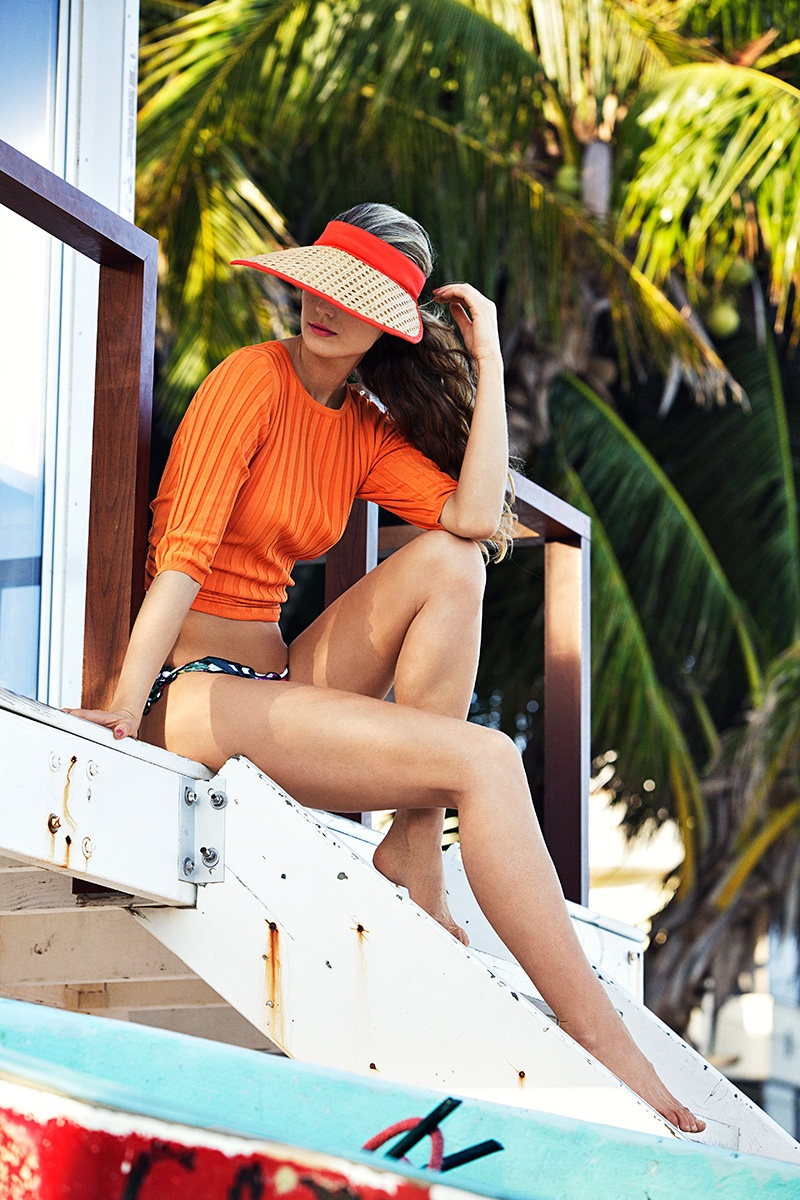 Kate Bock shows swim styles for Woman Spain June 2016