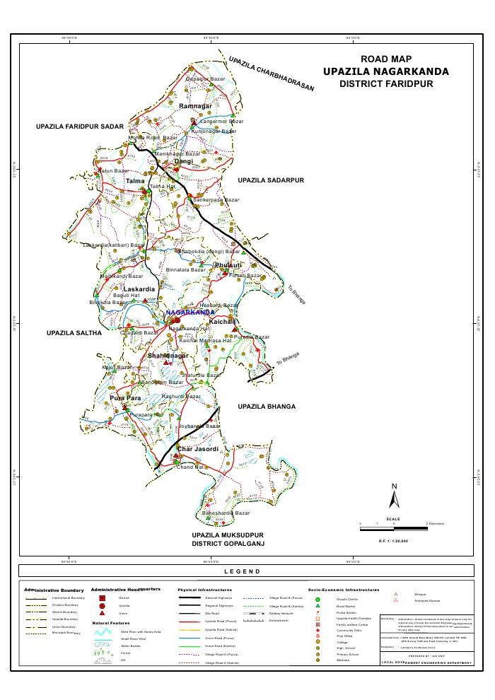 Nagarkanda Upazila Road Map Faridpur District Bangladesh