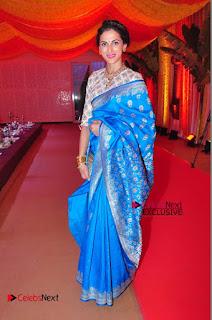 Actress Model Shilpa Reddy Exclusive Stills in Blue Saree at Vijay Karan Aashna Wedding  0053.JPG