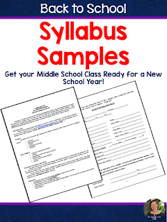 FREE Syllabus Samples for Middle School ELA that include the time saving Student Information Sheet!